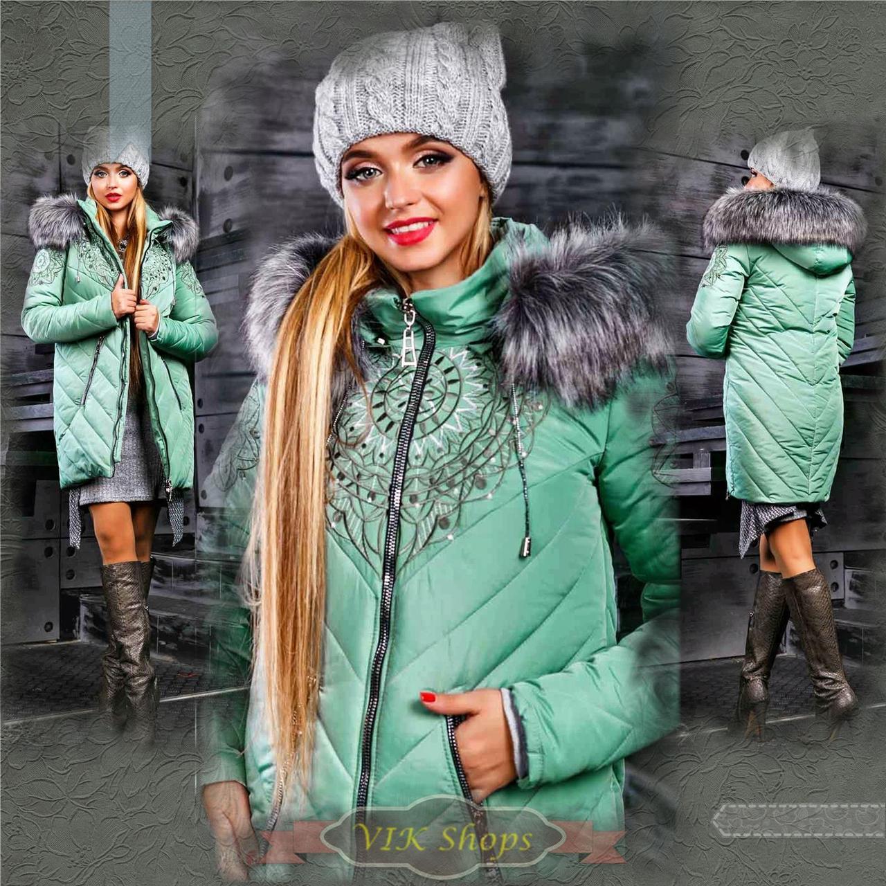 Куртка брендовая женская зимняя стеганая (оливковый, р.XL)