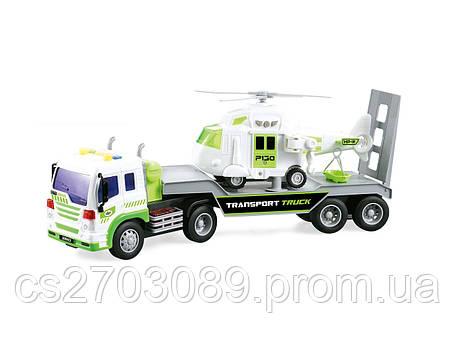 Фрикционная машина грузовик с вертолетом, свет, звук, фото 2