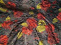 Стеганая плащевка с органзой на синтепоне. Красные цветы.