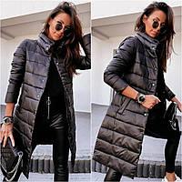 Женская зимняя куртка-пальто синтепон 200 новинка 2020 цвет черный.