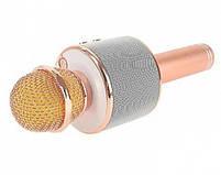 Караоке-микрофон портативный с колонкой Wster WS-858, Bluetooth, слот для MicroSD, розово-золотой, фото 3