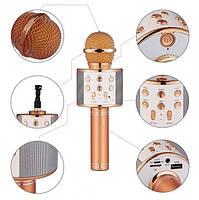 Караоке-микрофон портативный с колонкой Wster WS-858, Bluetooth, слот для MicroSD, розово-золотой, фото 7