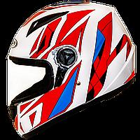 Мотошлем FXW HF-111 solid white-red-blue закрытый шлем интеграл, full-face белый с красно-синим узором