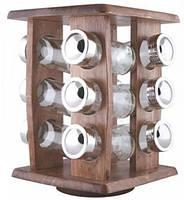 Набор для специй на деревянной вращающейся подставке Besser 10195, 12 емкостей