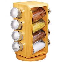 Набор для специй Stenson MS-0371 Woody, деревянная вращающаяся подставка, 8 стеклянных емкостей