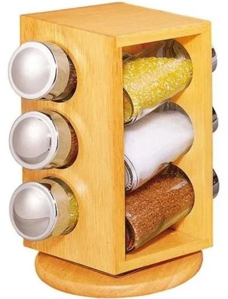 Набор баночек для специй на деревянной вращающейся подставке Stenson Woody MS-0369, 6 емкостей