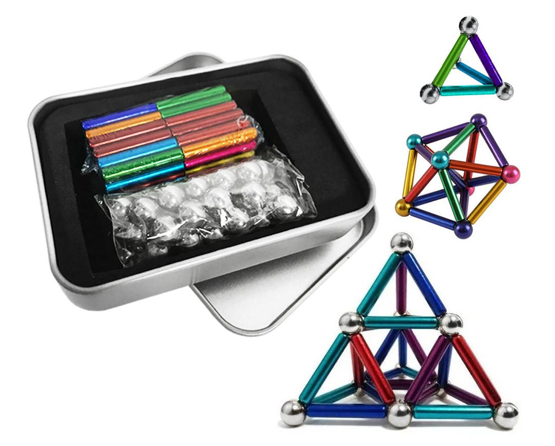 Магнитный конструктор палочки и шарики MHZ Neo MIX COLOR, 64 детали в металлической коробке, разноцветный