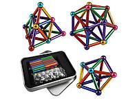 Магнитный конструктор палочки и шарики MHZ Neo MIX COLOR, 64 детали в металлической коробке, разноцветный, фото 3