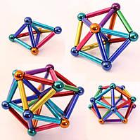 Магнитный конструктор палочки и шарики MHZ Neo MIX COLOR, 64 детали в металлической коробке, разноцветный, фото 6