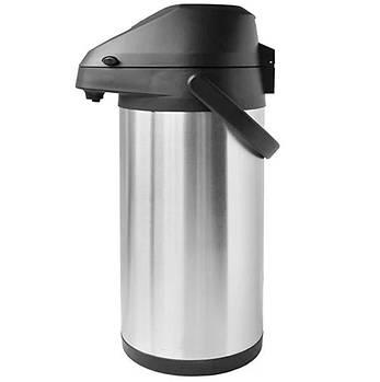 Термос помповый питьевой Stenson MT-0950, 4 л, серебристый с черным