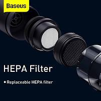 Автомобильный пылесос аккумуляторный BASEUS A2, 2 насадки, черный, фото 8
