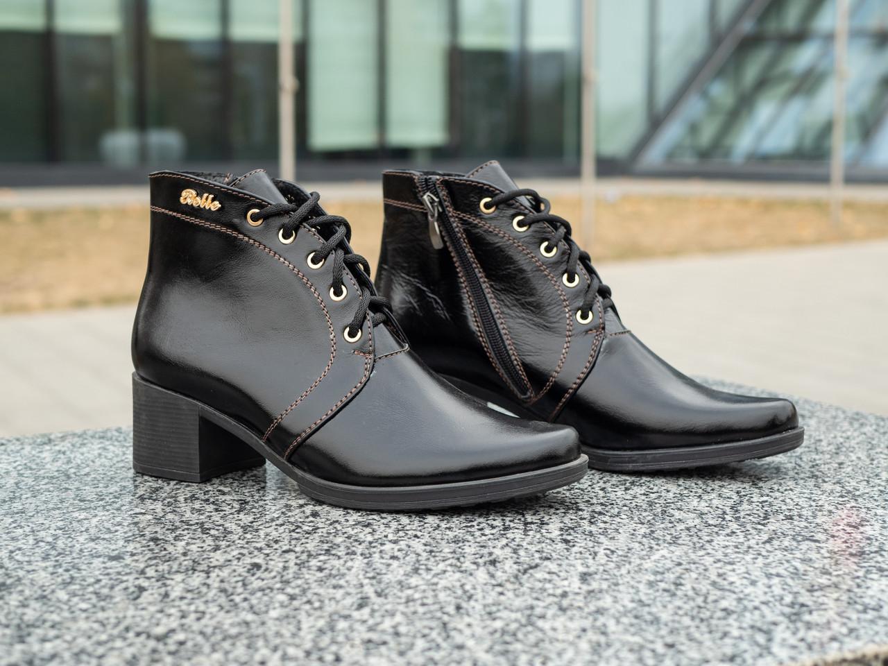 Модні черевики жіночі на підборах 36-41 чорний