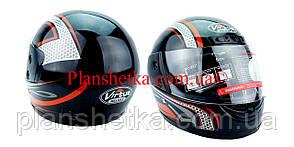 Шлем для мотоцикла черный с красным Virtue 03 взрослый размер L 58-59 см