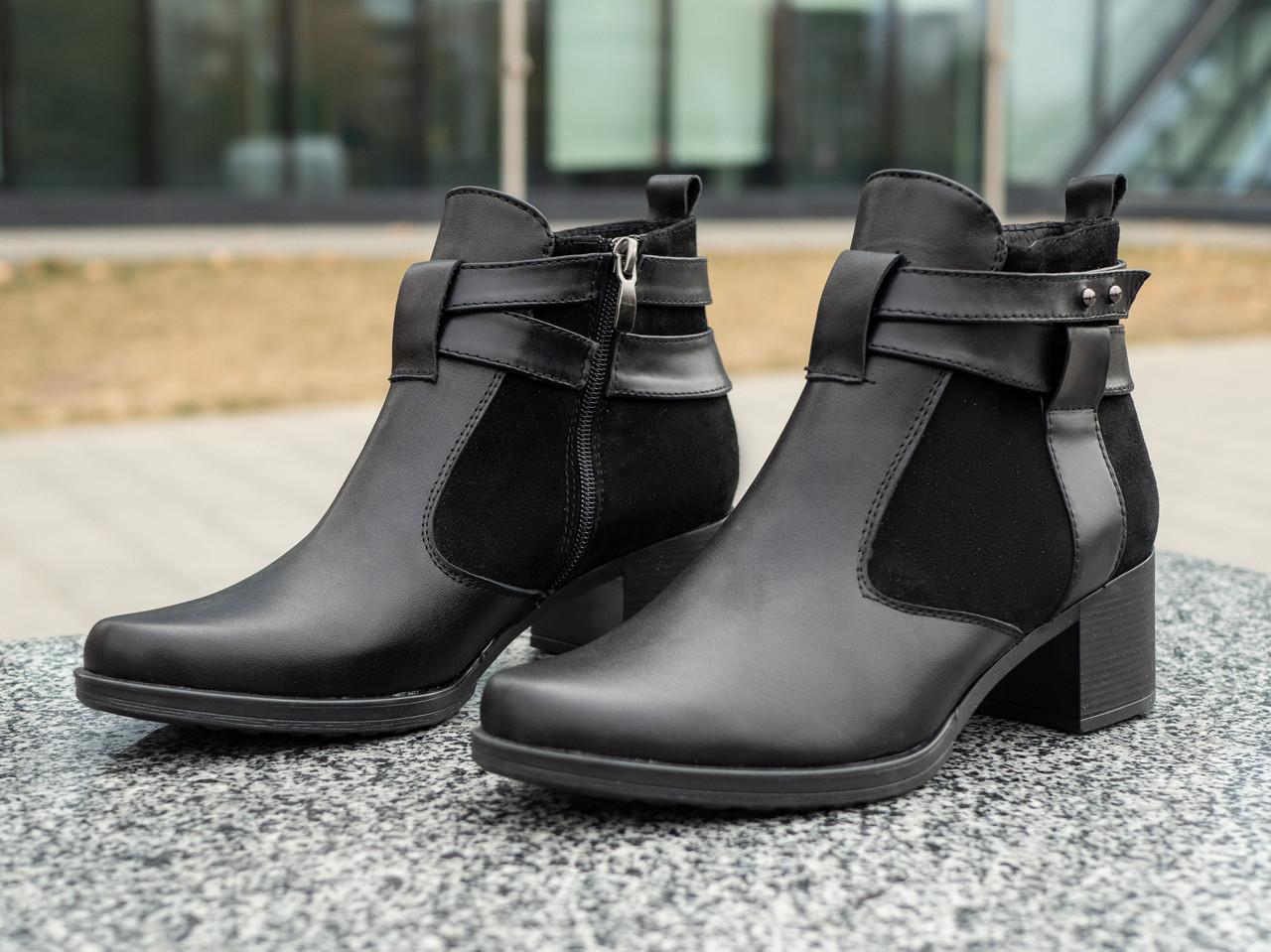 Модні черевики жіночі з натуральної шкіри 36-41 чорний