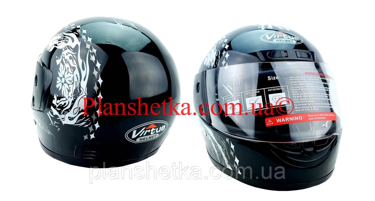 Шлем для мотоцикла черный с белым Virtue 02 взрослый размер L
