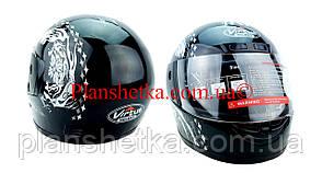 Шолом для мотоцикла чорний з білим Virtue 02 дорослий розмір L 58-59 см