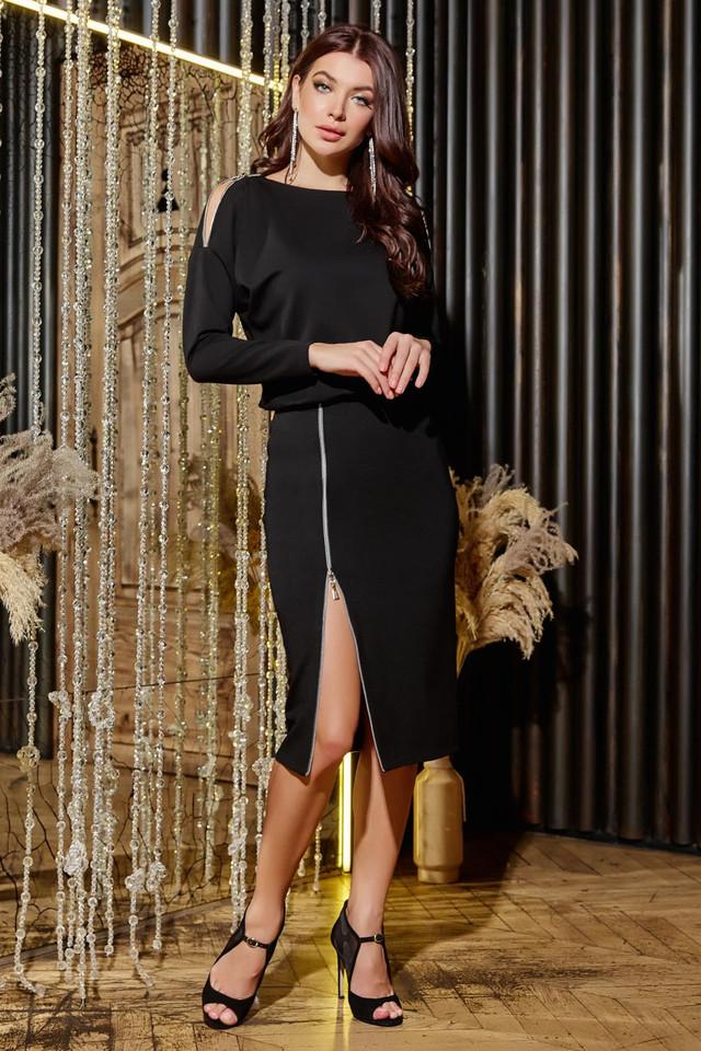 Чёрное платье трикотажное повседневное