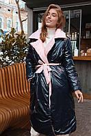 Женский зимний пуховик - одеяло из двухсторонней лаковой плащевки под пояс (р. 42-48) 60KU498, фото 1