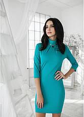 Платье приталенного силуэта со складками и декором по горловине, фото 3