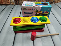 Деревянная игрушка Колотушка. Стучалка Молоточек Шарики, іграшка дерев'яна стукавка, фото 1