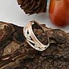 Серебряное кольцо с золотом Эстель размер 15 вставка белые фианиты вес 2.6 г, фото 2