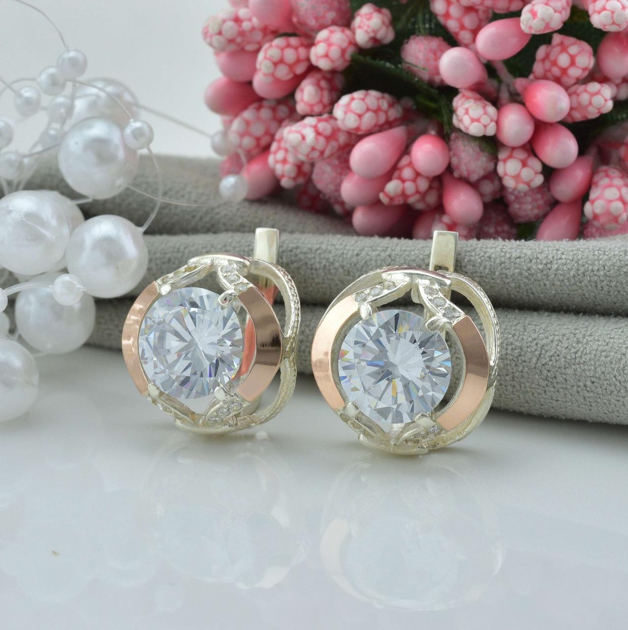 Серебряные серьги с золотом Анжелика размер 16х16 мм вставка белые фианиты вес 7.43 г