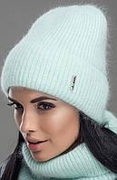 Женский комплект шапка-шарф(снуд) осень-зима Сицилия мята