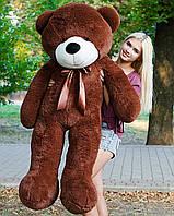 Медведь большой плюшевый 160 см, мягкий мишка подарок для девушки на день рождения, шоколадный