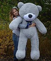 Медведь большой плюшевый 160 см, мягкий мишка подарок для девушки на день рождения, серый
