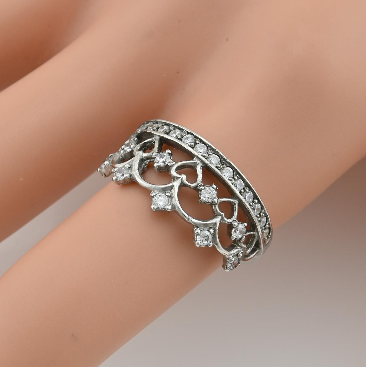 Серебряное кольцо Корона размер 19 белые фианиты вес 2.78 г