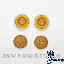 Пуговица (декор) пластиковая (18) ярко-желтого деревянного цвета 10 шт