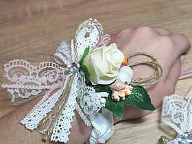 Весільна бутоньєрка браслет Бутон. Персик.