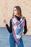 🔥НОВИНКА!!! Кашемировый бордовый платок узором с бахромой LEONORA, фото 4