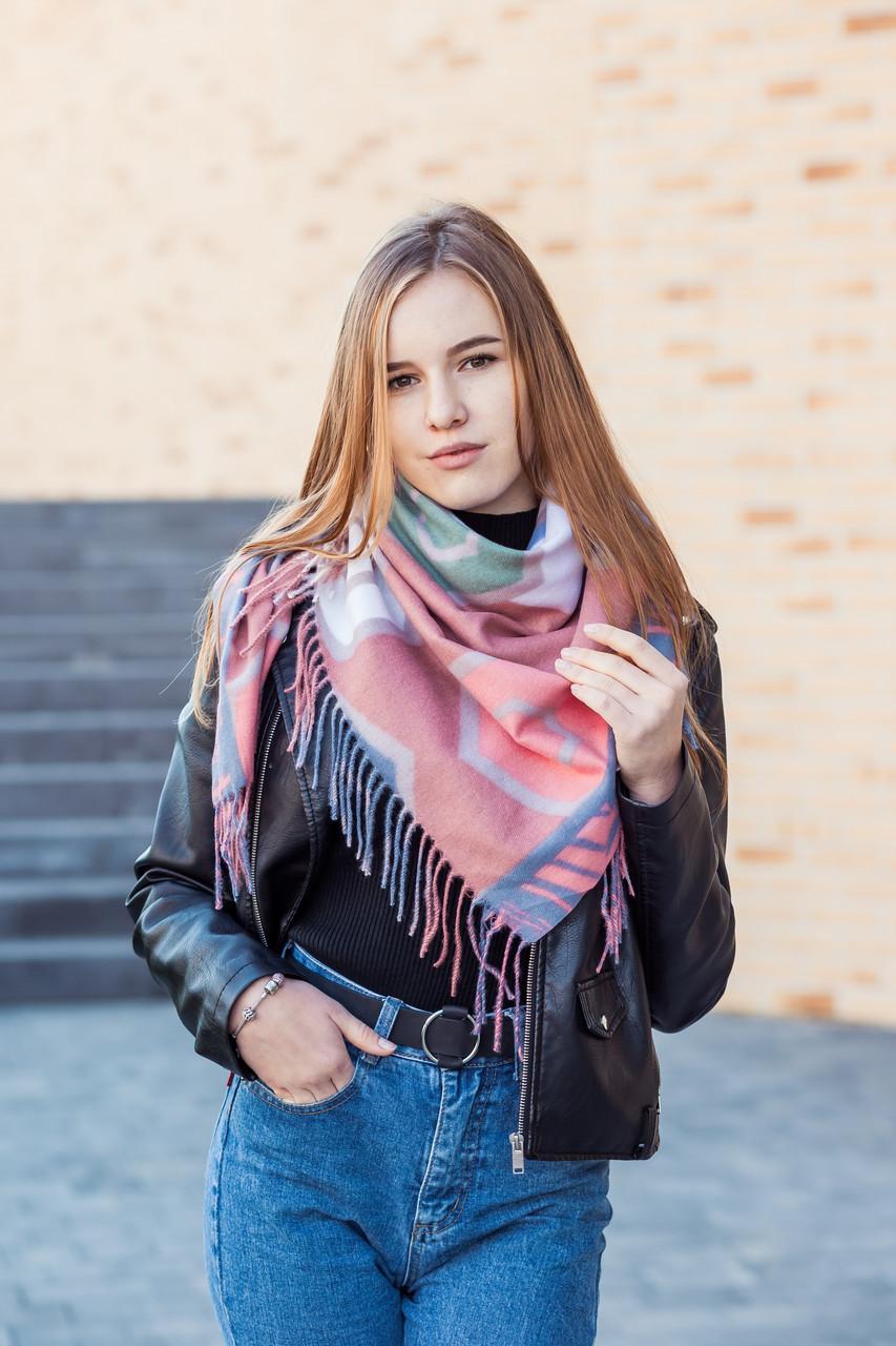 🔥НОВИНКА!!! Кашемировый бордовый платок узором с бахромой LEONORA