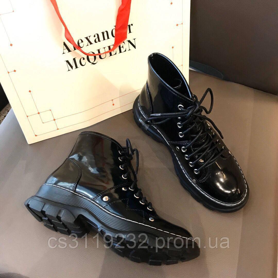 Женские ботинки McQueen Ankle Boots Black демисезонные (черные)