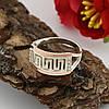 Серебряное кольцо с золотом Византия размер 20.5 вставка белые фианиты вес 3.6 г, фото 4