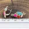 Серьги Xuping 27758 размер 22х11 мм вес 2.6 г разноцветная эмаль позолота 18К, фото 3