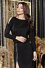 Трикотажное чёрное платье миди повседневное, фото 4