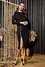 Трикотажное чёрное платье миди повседневное, фото 2