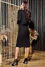 Трикотажное чёрное платье миди повседневное, фото 7
