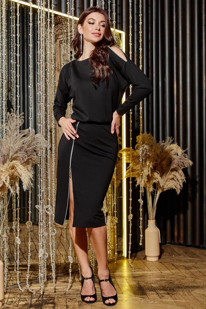 Трикотажное чёрное платье миди повседневное