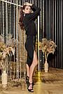 Трикотажное чёрное платье миди повседневное, фото 6