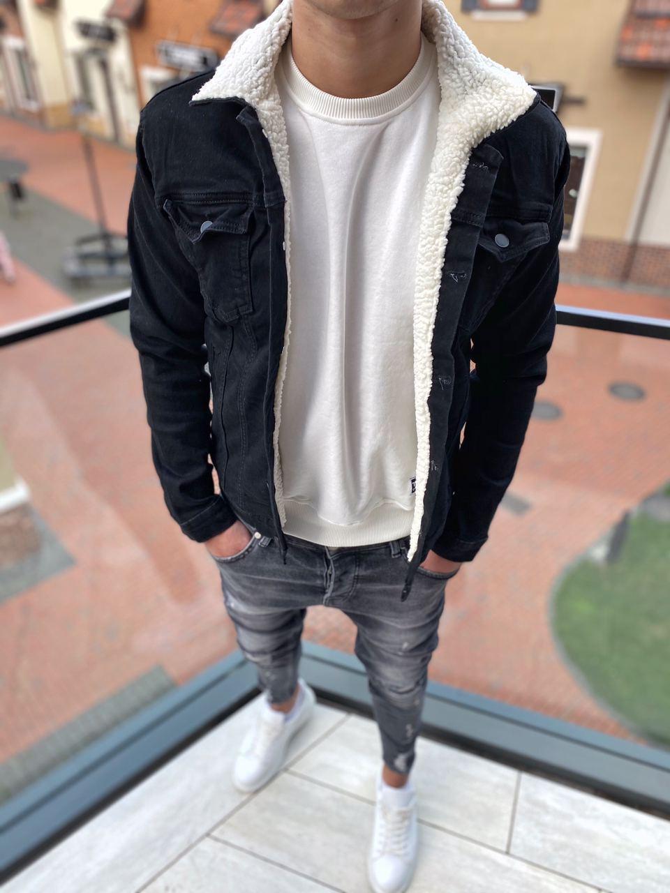 Мужская джинсовая куртка черная с мехом SKJ-3-1