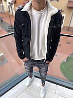 Мужская джинсовая куртка черная с мехом SKJ-3-1, фото 1