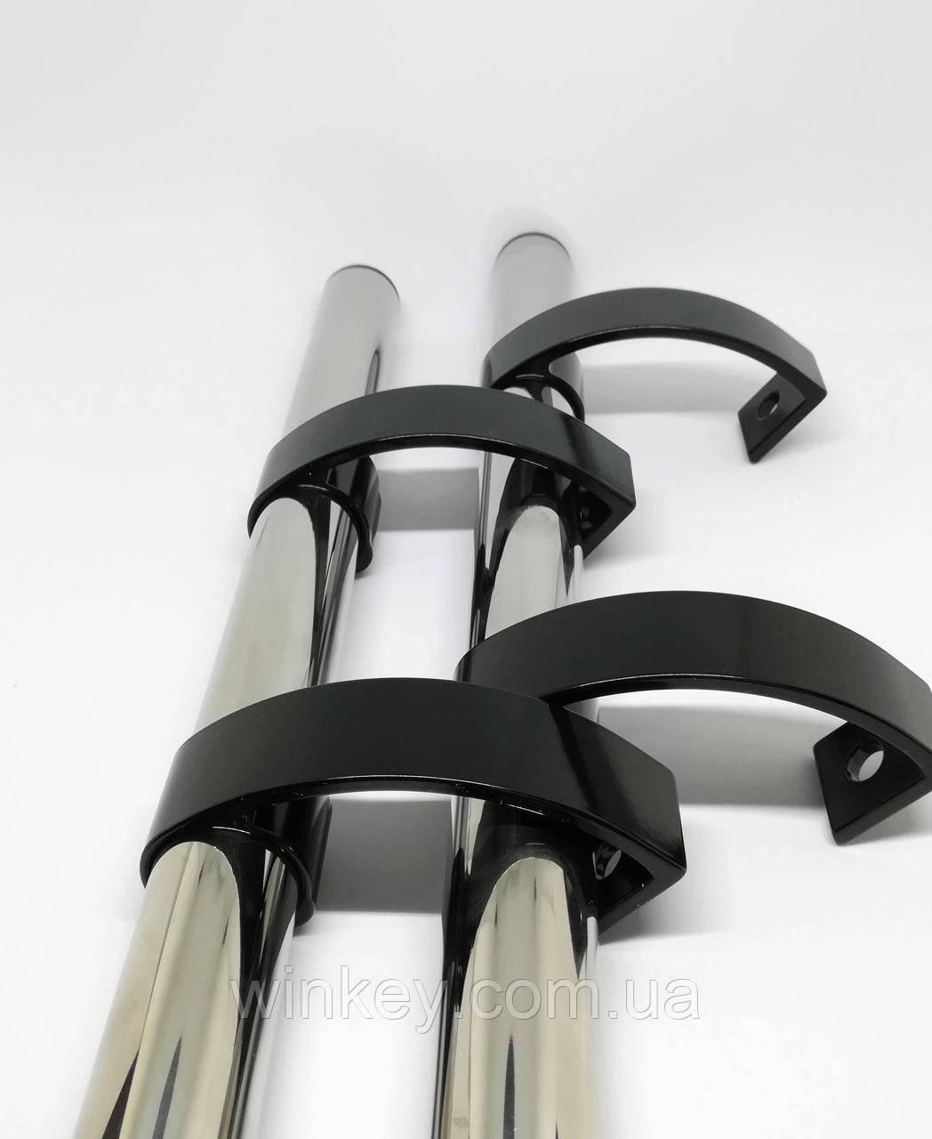 Ручка дверная офисная 1000 мм нержавейка с черными креплениями