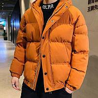 Куртка мужская зимняя ОВЕРСАЙЗ до -20*С короткая Boss теплая оранжевая   пуховик мужской зимний ЛЮКС качества