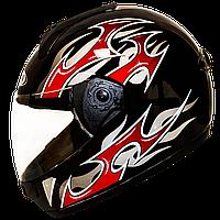 Мотошлем FXW HF-110 solid black-red закрытый шлем интеграл, full-face чёрно-красный