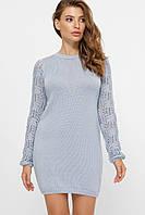 Платье женское красивое осеннее теплое стильное миди с ажурным рукавом туника Logan разные цвета 42-46