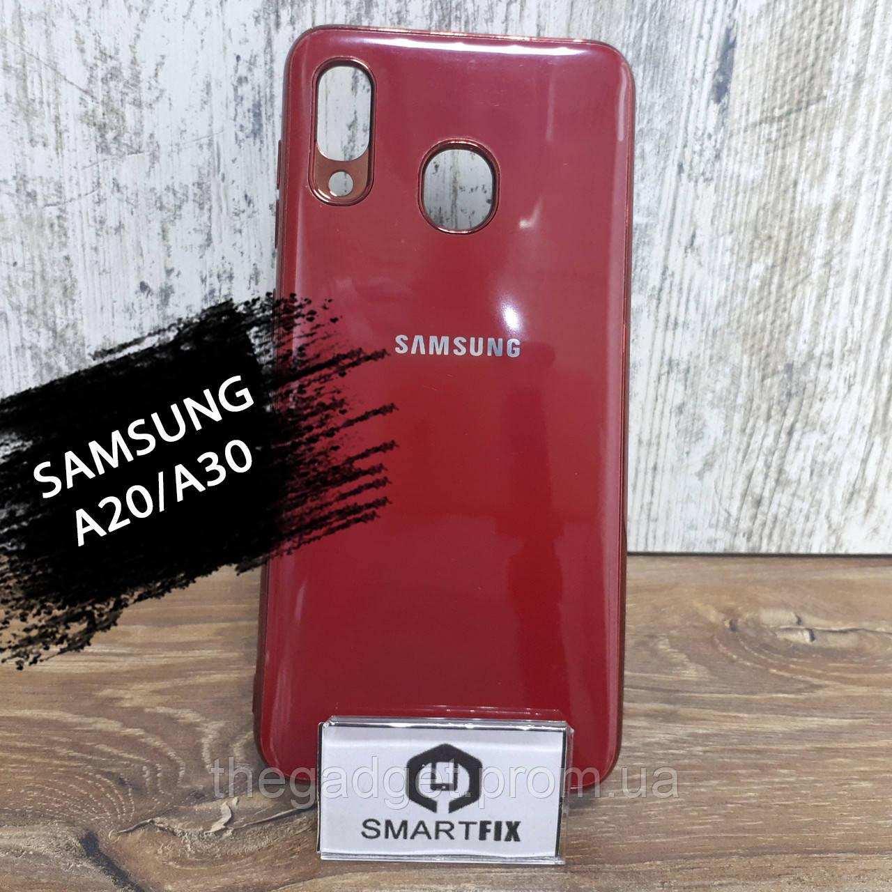 Силиконовый чехол для Samsung A20/A30/A205F/A305F Glossy Logo Red