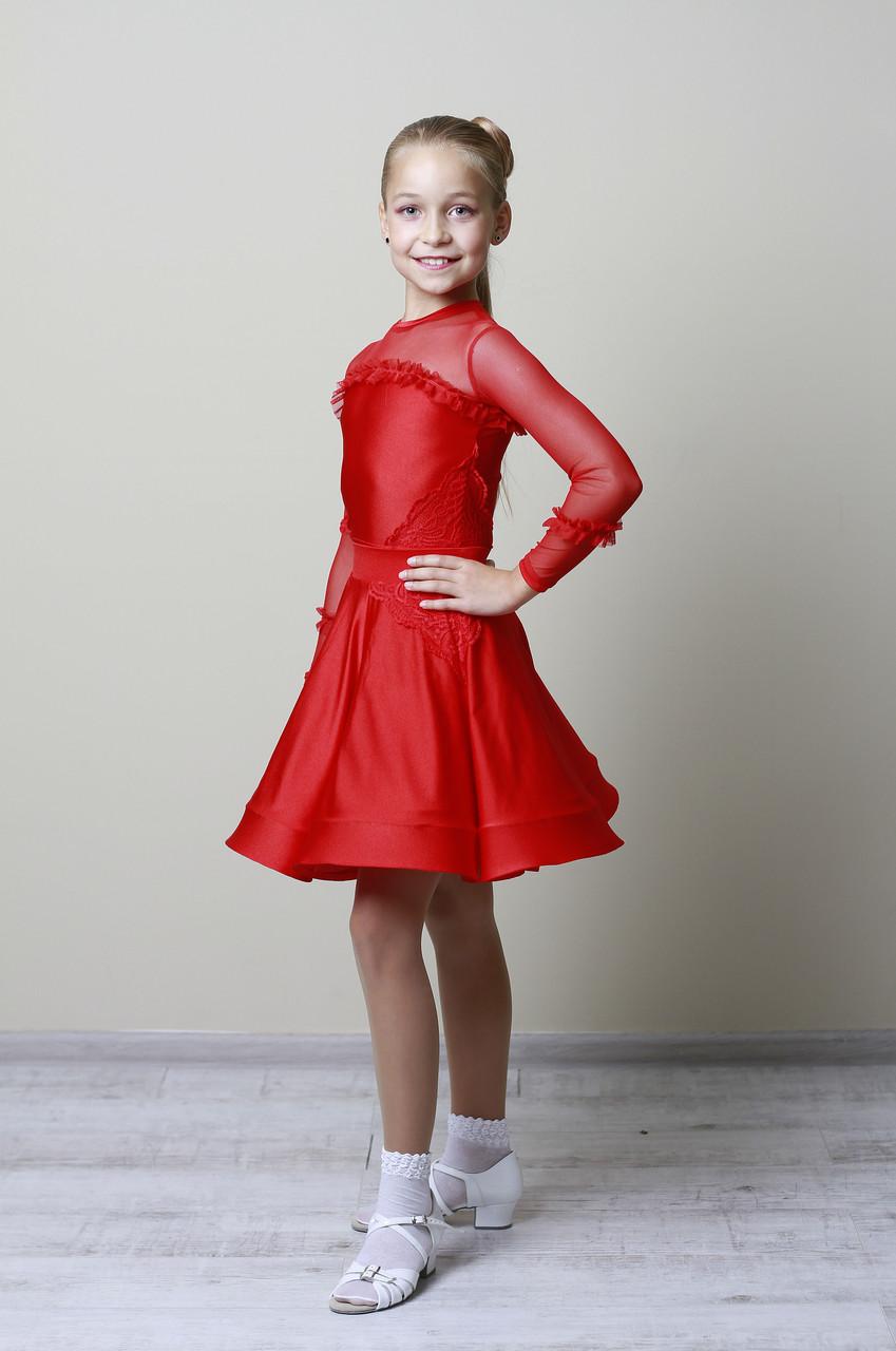 Рейтинговое платье Бейсик для бальных танцев Sevenstore 9108 Красный